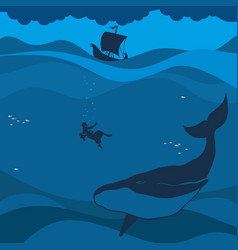 the prophet jonah and the whale vector image