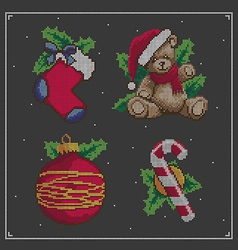 Christmas embroidery set vector