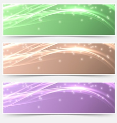 Bright shimmering glitter headers set templates vector
