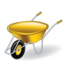 Yellow wheelbarrow vector