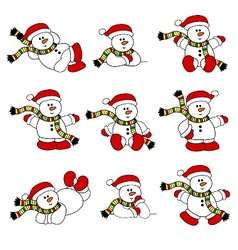 Cute christmas snowman set vector