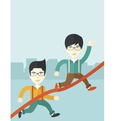 Two asian guy running to finish line vector