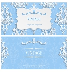 Blue 3d vintage invitation template with vector