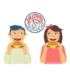 Happy boy and girl are eating a big hamburgers vector