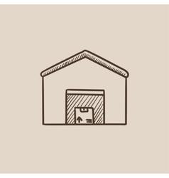 Warehouse sketch icon vector image