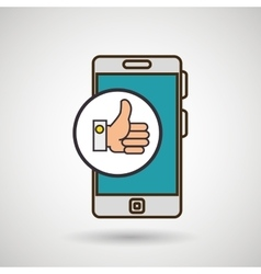 Smartphone blue hand isolated icon design vector