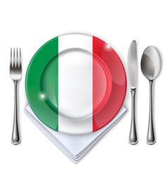 A plate with an italian flag vector
