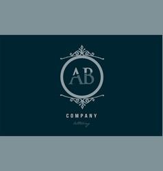 Ab a b blue decorative monogram alphabet letter vector
