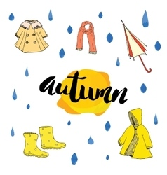 Autumn season set hand drawn doodles and vector