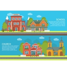 Building school church banner set vector
