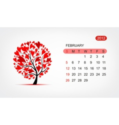 calendar 2012 february Art tree design vector image
