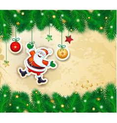 Christmas bakground with branches and happy santa vector