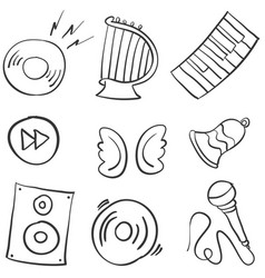 Collection stock music object doodles vector