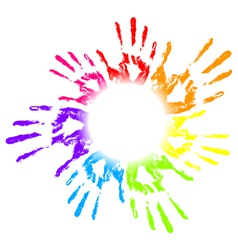colorful hands print vector image vector image