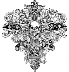 Cross skull illustration vector