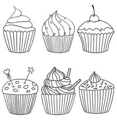 cupcake set of hand drawn cupcakes vector image vector image