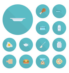 Flat icons pepperoni omelette dish and other vector