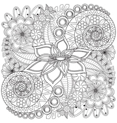 Flower swirl coloring page pattern vector image vector image
