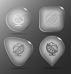 Globe and arrow Glass buttons vector image