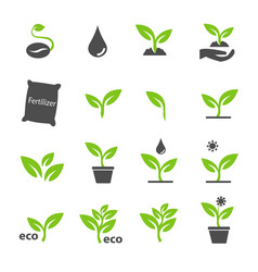 green plant and leave color icons set vector image
