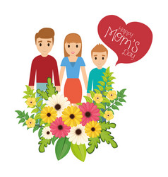 Happy moms day family flowers celebration vector