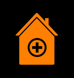 hospital sign orange icon on black vector image vector image