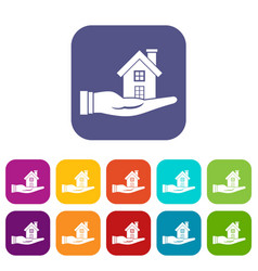 house in hand icons set vector image