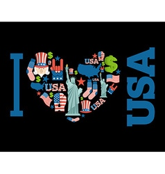 I love America Sign heart of USA traditional folk vector image vector image