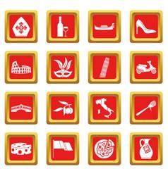 Italia icons set red vector