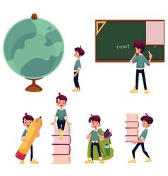 kid boy schoolboy doing school acitivities vector image vector image