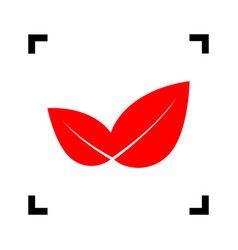 leaf sign red icon inside vector image