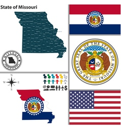 Map of Missouri with seal vector image vector image