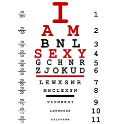 Optical eye test used by doctors with text i am vector