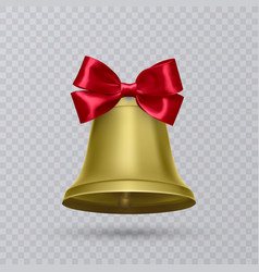 realistic gold bell with red bow vector image