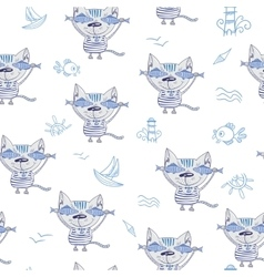 Sea cat pattern vector
