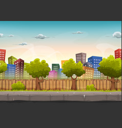 seamless street city landscape for game ui vector image vector image