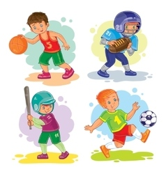 Set icons of boys playing basketball football vector