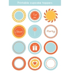 Set of printable cupcake toppers labels vector