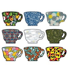 Set of tea cups with cute patterns vector image vector image