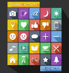 Social Share Activity Flat Icon Long Shadow vector image vector image