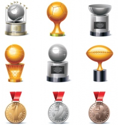 sport trophies and medals vector image vector image
