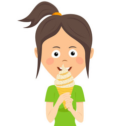 Teenager girl eating ice cream vector