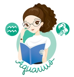 Woman With Aquarius Zodiac Sign vector image