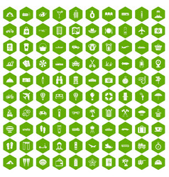 100 travel time icons hexagon green vector
