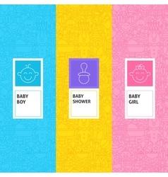 Line Baby Shower Patterns Set vector image