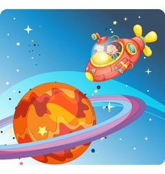 Kids in spaceship and saturn vector