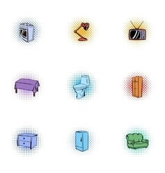 Furniture icons set pop-art style vector