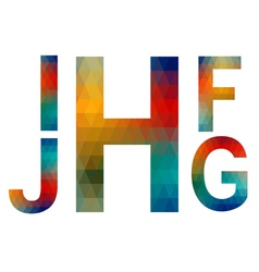 Mosaic alphabet letters i j h f g vector