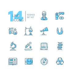 Science - coloured modern single line icons set vector
