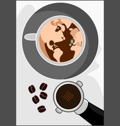 World of cappuccino coffee vector